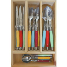 Laguiole by Louis Thiers 24-piece Linéaire range cutlery set with multi coloured handles