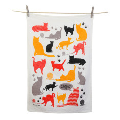 Hungry cat tea towel