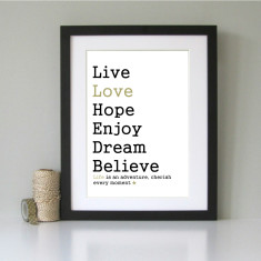 Live, love... inspirational mounted art print