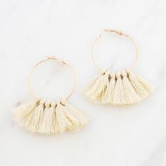Tassle hoop earrings in vintage white and gold