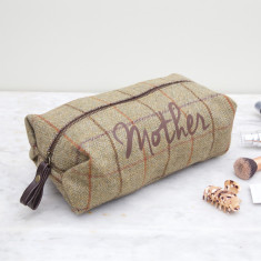 Personalised Tweed Wash Bag