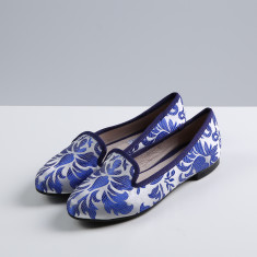 Christine embroidered satin flats