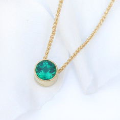 Emerald Necklace in 18ct Gold, May Birthstone