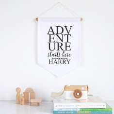 Adventure starts here personalised pennant wall banner