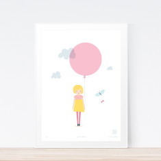Pink balloon art print