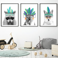 Feathered friends art prints (set of 3)
