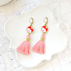 Japanese chiyogami and coral tassel leverback earrings