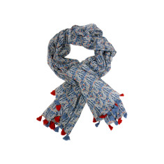 Denim toned cotton scarf with vibrant tassels