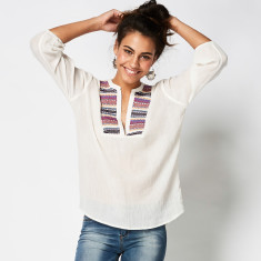 Serape embroidered tunic calico