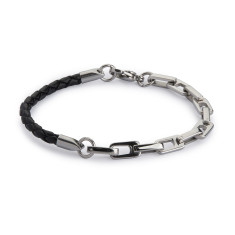 Armour leather & steel men's bracelet