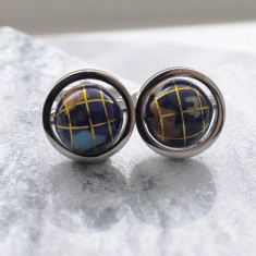 Spinning globe stainless steel cufflinks