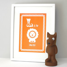 Personalised L is for lion child's print