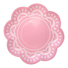 Lovely lace pastel pink paper plates (pack of 2)