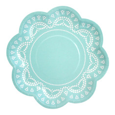 Lovely lace tiffanesque blue paper plates (pack of 2)