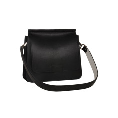 Black Leather Shoulder Bag with White Strap