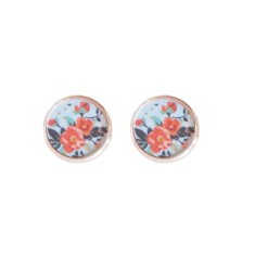 Rose gold studs in blue vintage flower