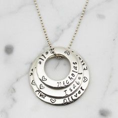 Personalised Circles of love stack necklace