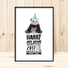 Custom boys birth panda print (various sizes)