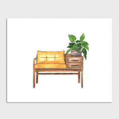 Bench Seat House Plant Watercolour Illustration Art Print