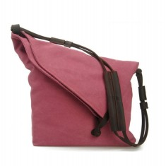 Canvas cross body bag with leather straps in red