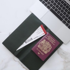 Moss green Italian leather travel wallet