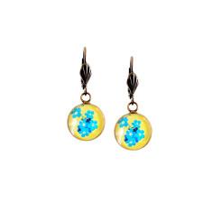 Vintage style lever-back copper earrings in buttercup