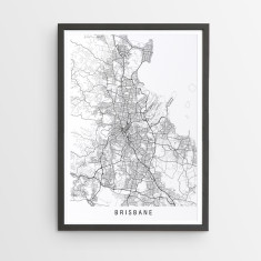 Brisbane minimalist map print