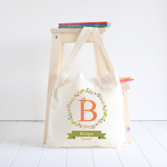 Floral Wreath personalised library bag