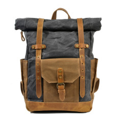 Canvas Waterproof Backpack/Laptop Bag With Leather Pockets In Gray