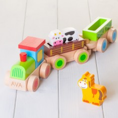 Childrens Personalised Wooden Farm Train