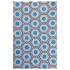 Hex blue outdoor rug