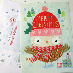 Personalised Owl Advent Calendar And Envelope
