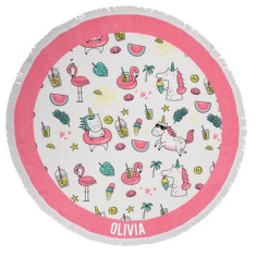 Personalised Round Beach Towel - Summer Party