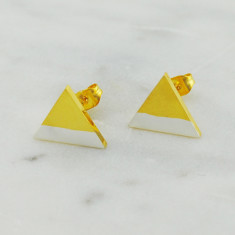 Dipped triangle stud earrings in gold and silver