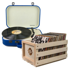 Crosley Coupe Turntable Blue + Storage Crate Bundle