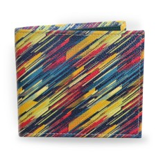 Retro Striped Vegan Leather Mens Wallet