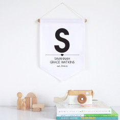 Bold initial girls' personalised pennant wall banner