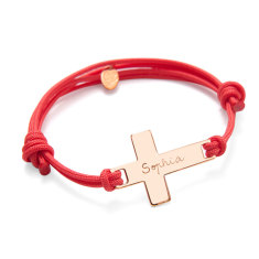 Women's personalised large flat cross bracelet
