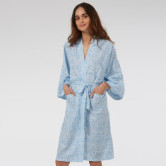 Kimono Robe in Blue Hexagon print