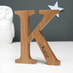 Personalised Christening Oak Letter
