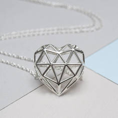 Sterling Silver Geometric Heart Necklace