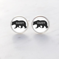 Daddy bear glass cufflinks