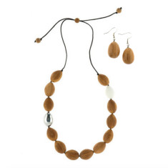 Atlantis Pod wooden necklace & drop earrings set