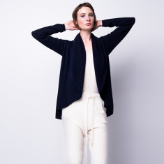 Free flowing cashmere hoodie cardi