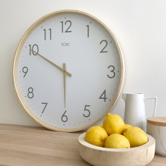 Erika Wooden SILENT SWEEP Wall Clock 51cm by Toki