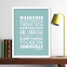 Framed personalised locations print (own colours)