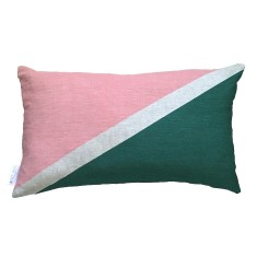 Flag colourblock cushion in blush and green