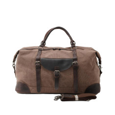 Large Canvas Travel Duffle Bag With Leather Handle