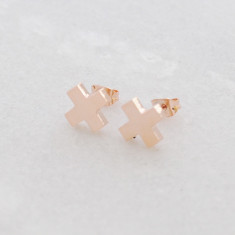 Cross my heart studs in rose gold