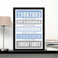 Modern bus roll personalised print (own colour dates and events)